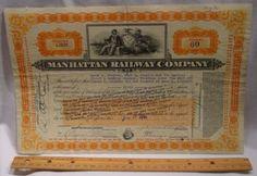 Stock/Bond: 1920S Manhattan Railway Company Stock Certificate - Nyc Elevated Railway