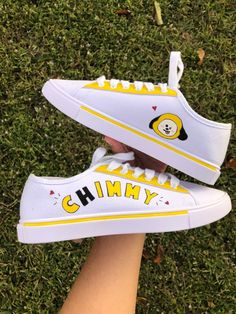 KPOP Chimmy-Inspired Sneakers on Mercari Sneakers Fashion, Fashion Shoes, Fashion Outfits, Army Shoes, Bts Clothing, Bts Inspired Outfits, Mode Kpop, Aesthetic Shoes, Kpop Merch