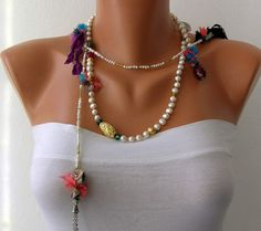 Beautiful!!!  White Pearl Handmade Beaded Chains Gold Plated