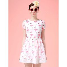 Choies White Swan Print Short Sleeve Skater Dress ($24) ❤ liked on Polyvore