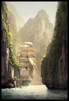 Creed IV Black Flag Concept Art by Raphael Lacoste Assassin's Creed IV Black Flag Concept Art by Raphael Lacoste. Damn this is beautiful.Assassin's Creed IV Black Flag Concept Art by Raphael Lacoste. Damn this is beautiful. Fantasy Places, Fantasy World, Old Sailing Ships, Fantasy Landscape, Landscape Art, Tall Ships, Cool Art, Concept Art, Beautiful Places