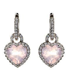 White gold, heart shaped, rose quartz diamond earring enhancers.