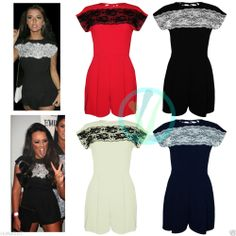 0dd1409f8f02 Womens Celeb Lace Black Evening Party Playsuit Romper Jumpsuit Ladies Dress  8 14