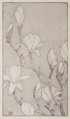 japanese magnolia print - Google Search                                                                                                                                                                                 More