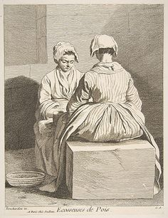 Women shelling peas, Paris, 1737, Anne Claude de Tubieres, after Edme Bouchardon, etching with some engraving,