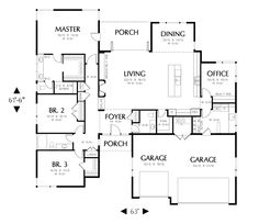 Excellent plan adding more master closet, more room in living and closet, bath at back of office.