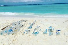 This photo was taken after a clean-up on the remote Chagos Island, 300 miles south of the Maldives, where they found 175 plastic water bottles from 10 different countries.