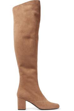 鞋跟高约 7 厘米  沙色绒面革  侧面配有拉链  品牌特定颜色:Chamois   意大利制造