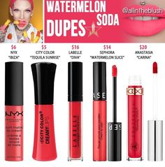 Jeffree Star Watermelon Soda Velour Liquid Lipstick Dupes – All In The Blush Jeffree Star Watermelon Soda Velour Liquid Lipstick Dupes Nyx Eyeliner, Nyx Eyeshadow, Makeup Dupes, Nyx Highlighter, Beauty Dupes, Nyx Cosmetics, Dupes Nyx, Blush Dupes, Jeffree Star Liquid Lipstick
