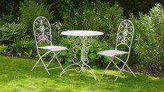 Antique White Metal 3 Piece Bistro Style Garden Patio Furniture Set ~ Lucia: Amazon.co.uk: Garden & Outdoors