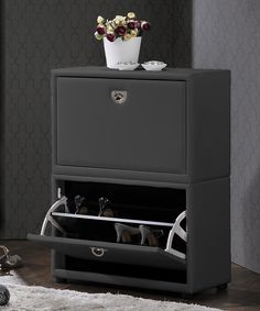 Look at this Gray Two-Tier Upholstered Shoe Cabinet on #zulily today!