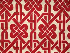 Feng Shui & Chinese New Year, Red Geometric Chinese Knot chinoiserie upholstery fabric