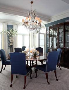 Blue Dining Room Furniture Blue Dining Room Chairs Home Remodeling Ideas Decor Plans Blue Dining Room Furniture, Dark Blue Dining Room, Dining Room Design, Interior Design Living Room, Dining Chairs, Design Interiors, Wood Furniture, Dinning Table, Beautiful Dining Rooms