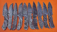 LOT OF(10 PICS) DAMASCUS CUSTOM HAND MADE HUNTING KNIFE BLANK BLADE. | eBay