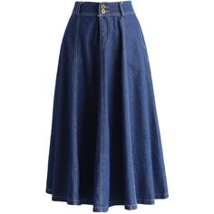 Chicwish Swing Denim A-line Midi Skirt (145 PEN) ❤ liked on Polyvore featuring skirts, blue, calf length denim skirts, a line denim skirt, mid-calf skirt, crop skirt and a line midi skirt