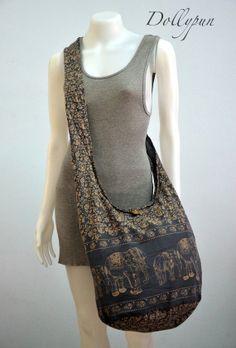 SLATE GRAY - Bohemian Hippie Elephant Printed Cotton Crossbody Bag Sling Handmade Shoulder Bag Boho Hobo Messenger Bag Purse E141 on Etsy, $8.98