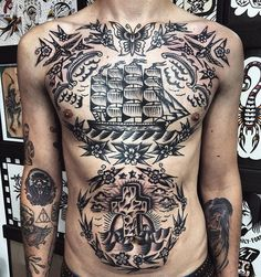 Search inspiration for an Old School tattoo. Neo Traditional Chest Tattoo, Traditional Tattoo Old School, Traditional Tattoo Design, Torso Tattoos, Stomach Tattoos, Body Art Tattoos, Ship Tattoos, Tradional Tattoo, American Traditional