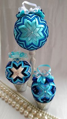 Large quilted bauble/Blue Vintage Christmas Quilted Ornament. by AngelsHandmadeCrafts on Etsy