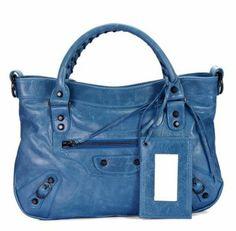 ……♥♥……  Balenciaga Le Dix Motorcycle City Bag 084331 - Light Blue #Balenciaga #Handbags #Blue $309 , Ready To Own It~! …♥♥…