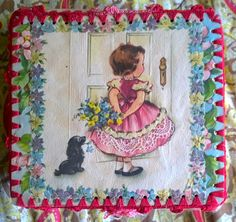 Vintage Handmade Keepsake Box:  Christmas/Holiday Themed - Mixed Media Crocheted