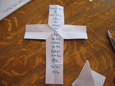 Take 8.5'' by 11'' piece of paper, & write the verse down the middle. Some people don't believe, that Jesus is the only way to God. They try to take the verse, & turn it upside down. Or, ignore it completely (flip the paper over). Sometimes they flip & fold it, looking for another way to heaven. & sometimes people try to cut Jesus & His words out completely. Full instructions on site.