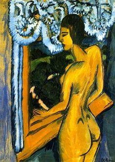 Ernst Ludwig Kirchner - Brauner Akt am Fenster, 1912.