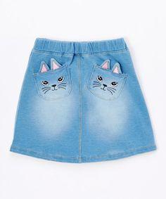 Another great find on #zulily! Blue Cat Faces Denim Skirt - Kids #zulilyfinds