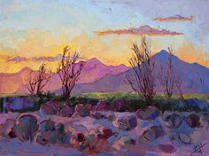 Violet Point, an original oil painting of Palm Springs ocotillos by Erin Hanson