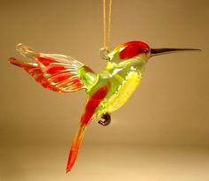 Blown Glass Figurine Art Bird Hanging Red and Green HUMMINGBIRD Ornament