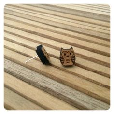 Earrings owls - koo-ki-nuts 'Little hooters' laser cut wooden earrings - Designed and crafted in Australia on Etsy, $14.57