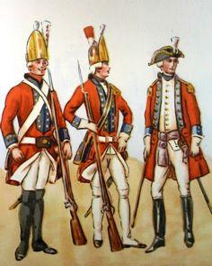 Epoka stanisławowska: Regiment Pieszy Grenadierów. Od lewej: grenadier 1778, młodszy oficer 1779, oficer sztabowy 1775. Rys. B. Gembarzewski.