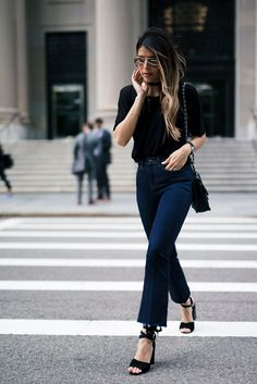 Topshop Moto Raw Hem Crop Kick Flares, Ankle-Tie High Sandals, Sheer Overlay Cami Tee, Chanel French Riviera Bag
