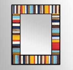 "Reclaimed Wood Mirror - ""India Reflection"" - Wood Stripes in Orange, Yellow, Blues, Reds - Modern Wood Wall Art - Abstract Wood Art Reclaimed Wood Mirror, Reclaimed Wood Projects, Pallet Mirror, Scrap Wood Art, Hardwood Floor Colors, Wood Scraps, Mirror Wall Art, Mirror Mirror, Cool Woodworking Projects"