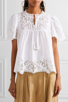 SEA | Crochet and tulle-trimmed cotton-poplin blouse | NET-A-PORTER.COM