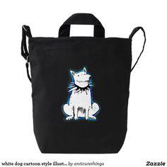 white dog cartoon style illustration blue contour duck bag