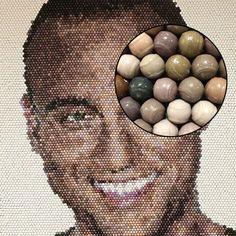Derek Jeter Mosaic made of 10,000 tiny baseballs
