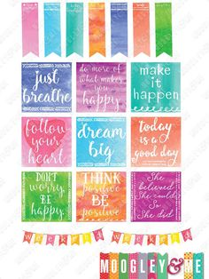 Motivational Watercolor Planner Stickers for your Horizontal/ Vertical Erin Condren Life Planner,Happy Planner, Plum Paper, or any planner! by MoogleyandMe on Etsy
