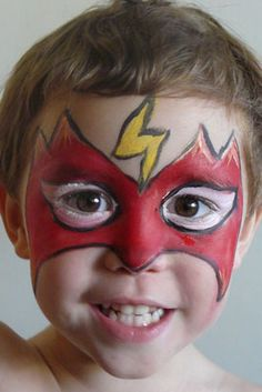 superhero face painting designs for kids | This could be a generic super hero or Flash: