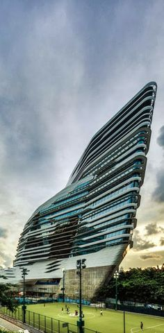 Jockey Club Innovation Tower Building, 15 floors. by Zaha Hadid Architects. HONG KONG, Special Administrative Region of CHINA