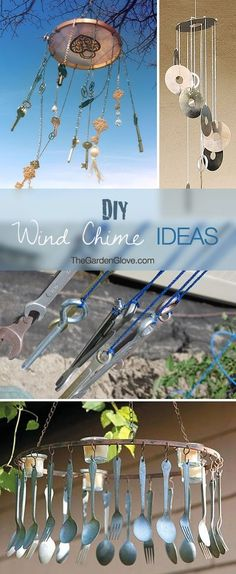 Make Your Own Wind Chimes! • Creative & Cool DIY Wind Chime Ideas & Tutorials! by MzMely Atelier Creation, Creation Deco, Mobiles, Arts And Crafts, Diy Crafts, Gardening Gloves, Diy Wind Chimes, Wind Chime Parts, Shell Wind Chimes