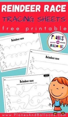 Christmas reindeer tracing worksheets for preschool - Planes & Balloons | Let's make learning fun! Preschool Binder, Printable Preschool Worksheets, Tracing Worksheets, Preschool Games, Free Preschool, Toddler Preschool, Free Printables, Kindergarten Worksheets, Holiday Activities For Kids