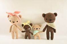 Note: This listing is for a crochet pattern only - it is not the finished dolls! The Bear Family crochet pattern includes a detailed photo tutorial on how to crochet these adorable bears and their accessories. You will need to know basic amigurumi and crochet skills such as: an