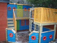 Childrens Play Area with Boat Theme External Staircase, Boat Theme, Adventure Of The Seas, Kids Play Area, Play Houses, Playground, Inspiration, Treehouse, Parents