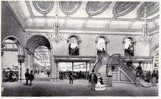 Et voici l'intérieur d'un Music-Hall. La littérature de l'époque est pleine de descriptions de ces Music-Halls, bientôt imités par d'autres que les Gatti, bien entendu; la musique y était excellente – les célèbres Gilbert & Sullivan ont fait leurs débuts chez Gatti. (Image Victoria and Albert Museum, Londres)