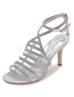 White Wedding Shoes Gladiator Sandals Women's High Heel Rhinestones Ankle Strap Bridal Shoes - Milanoo.com