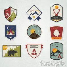 Beautiful camping label vector