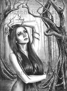 Ancient Dryad Art Print Tree Art Forest Art Goddess Art Print Wall Art 8x10, 11x14. This mysterious Ancient Dryad lives among the forest. She lives within the trees and cares for them as a guardian. Her ancient soul protects and nurtures them. In Greek Mythology, Dryads are tree Nymphs, living within the forest protecting the trees. Here is a time lapse video of me creating this drawing: https://www.youtube.com/watch?v=mUlC_npkO3g *Special thank to Mihaela-VStock for the photo reference....
