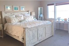 Wood beach bed frame beach house furniture by GriffinFurniture