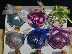 Personalized Glitter Christmas Ornaments by thecraftspottoshop, $6.00