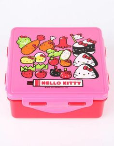 The #Bentobox artwork on this #HelloKitty lunchbox is so, so cute!
